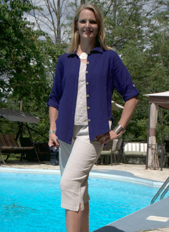 Patsy Blouse with clam digger capri