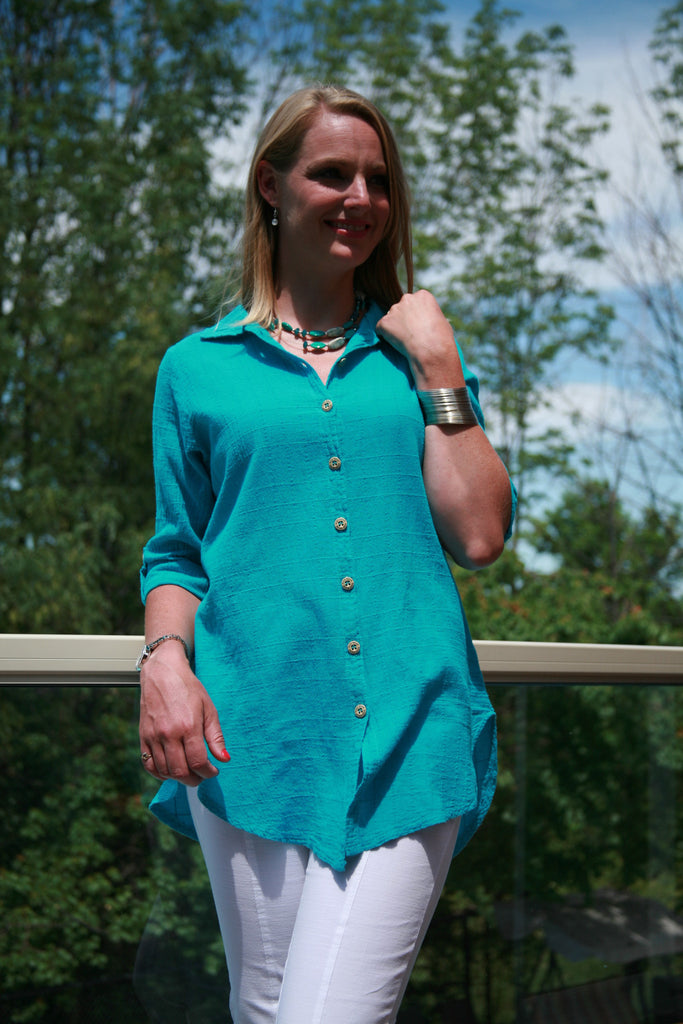 3/4 Sleeve Dotty Gauze Cotton Mieke Shirt in Teal