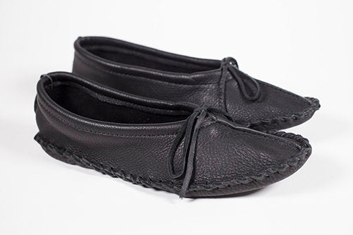 Ladies Deerskin Ballet Moccasin Black