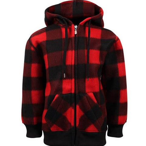 Fleece Plaid Red Black Jackets- Kids