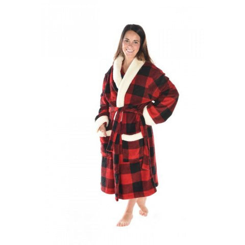 Bath Robe Fleece Red Black
