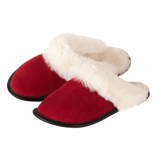 Sheepskin mule slipper in red