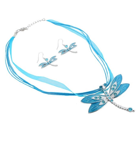 Necklace and Earring Set - Dragonfly Pendant