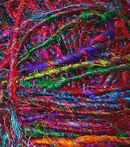 Hand spun recycled silk yarn