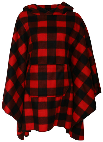 Fleece Plaid Hooded Poncho 9008N