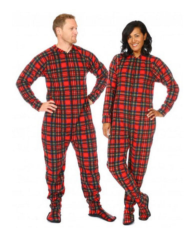 Plaid Footed Fleece PJ`s-snug as a bug SNUAFT