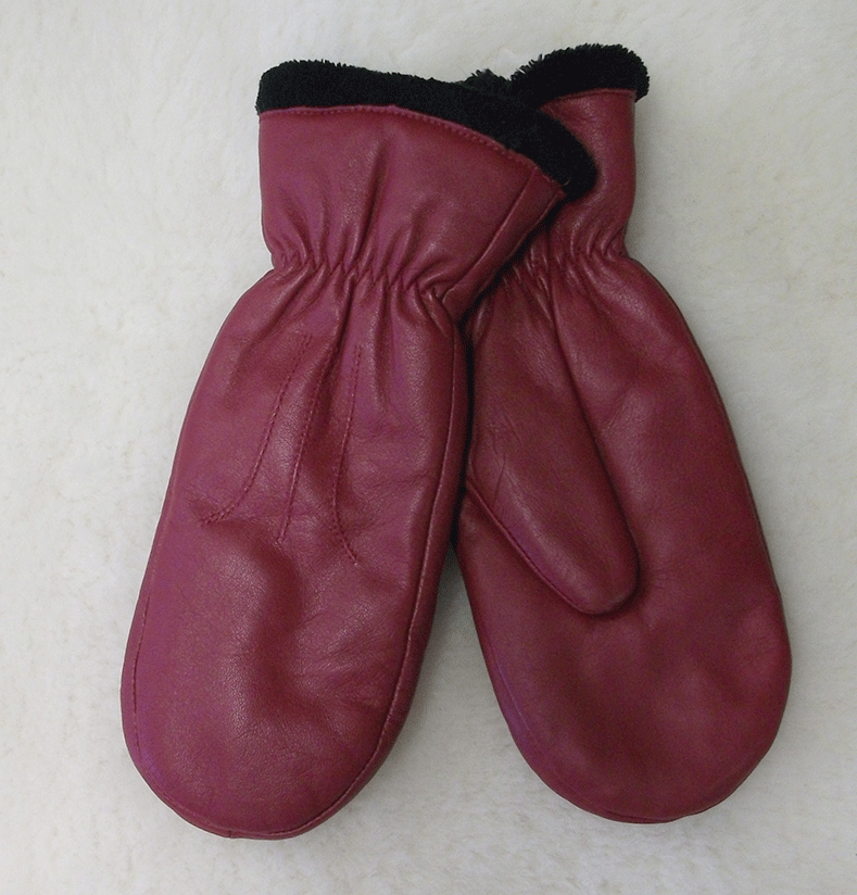 Leather mitt gloves red