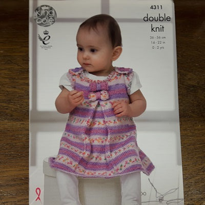 Pattern - King Cole 4311 - Baby Dress, Coat & Hat - Drifter For Baby- DK