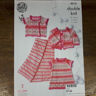 Pattern - King Cole 4314 - Baby Blanket, Cardigan & Dress- Drifter For Baby- DK