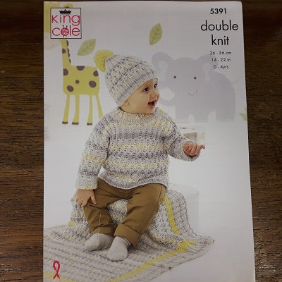 Pattern - King Cole 5391 - Baby Sweater, Cardigan & Hat - Drifter For Baby- DK