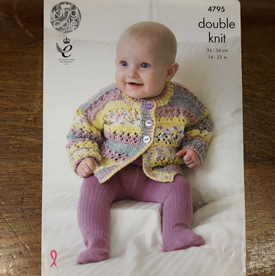 Pattern - King Cole 4795 - Baby Cardigan, Hat & Blanket - Drifter For Baby- DK