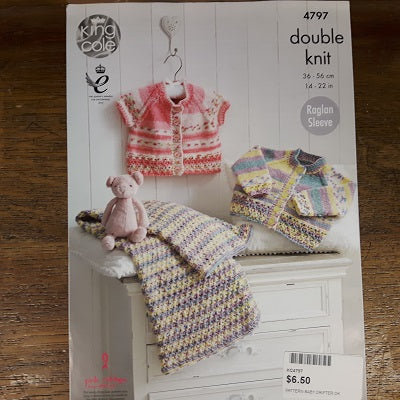 Pattern - King Cole 4797 - Baby Cardigans & Blanket - Drifter For Baby- DK