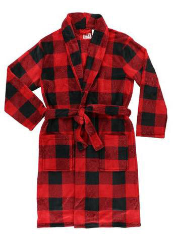 Bath Robe Red Black Fleece Men's