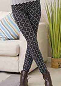 Leggings- Printed One Size- Grey/Black Diamond