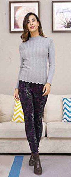 Leggings- Printed One Size- Purple/Green Mix