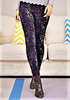 Leggings - Printed One Size - Purple/Green Mix