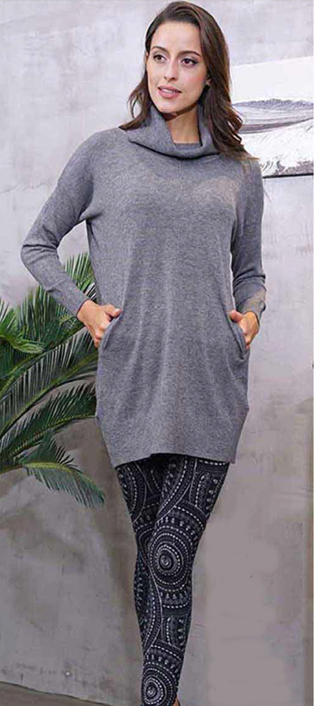 Tunic-Cowl Neck with Pockets