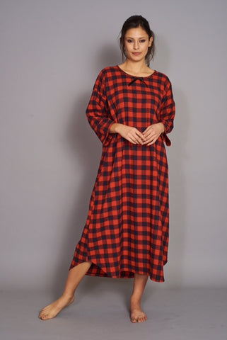 Nightie Flannel Red Black Long