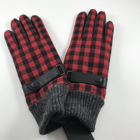 Gloves Wool Goat Skin Red Check 1810/11