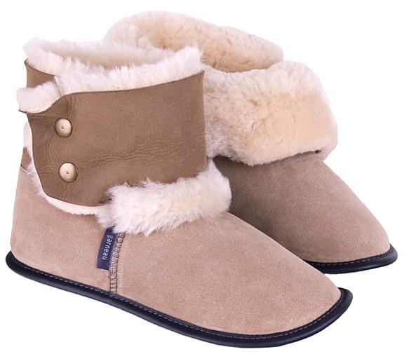 Sheepskin Reverse High Cut Slippers Ladies D