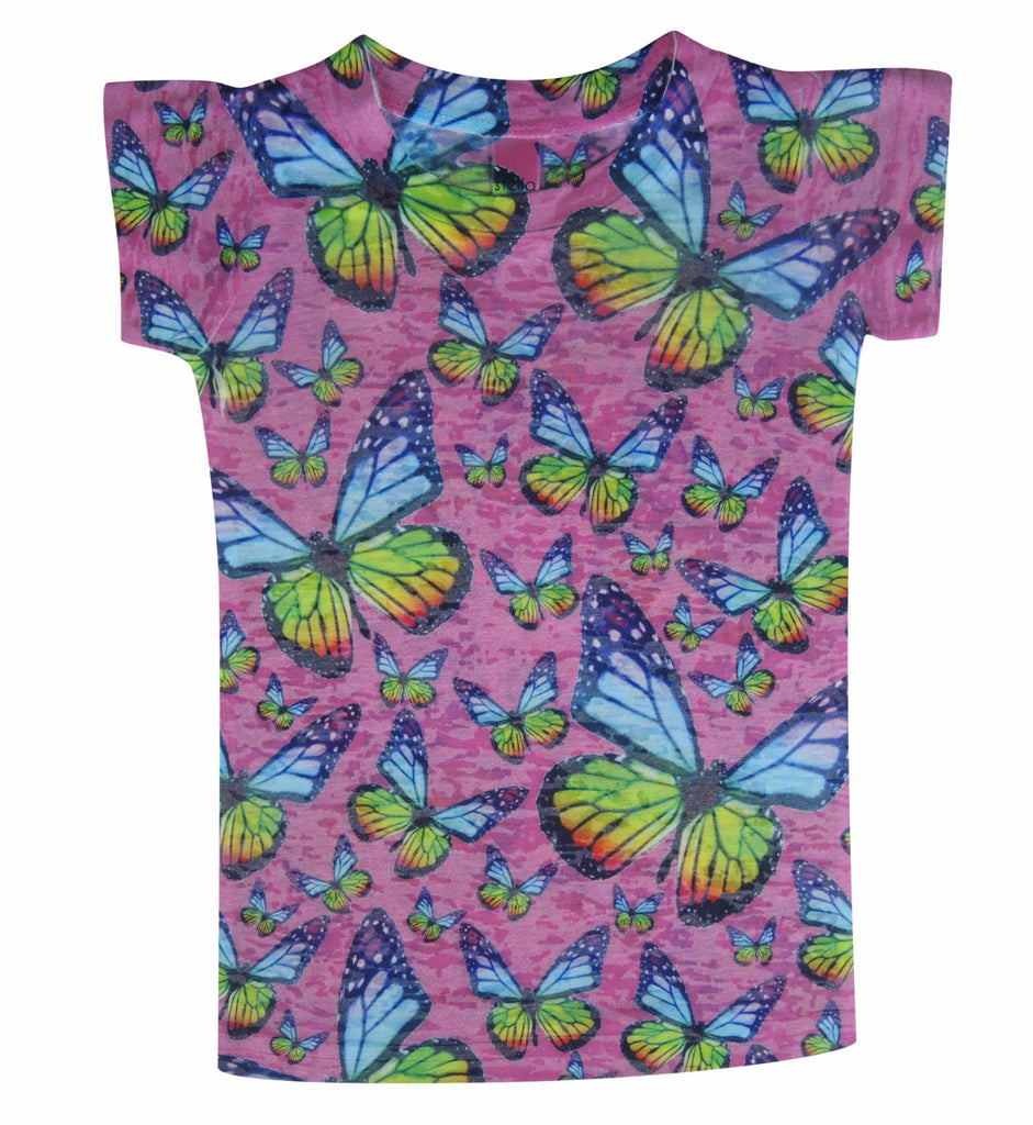 Girls Pink Butterflies Tee - Stella Blu Clothing