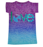 Girls Love the World Sparkle Tee - Stella Blu Clothing