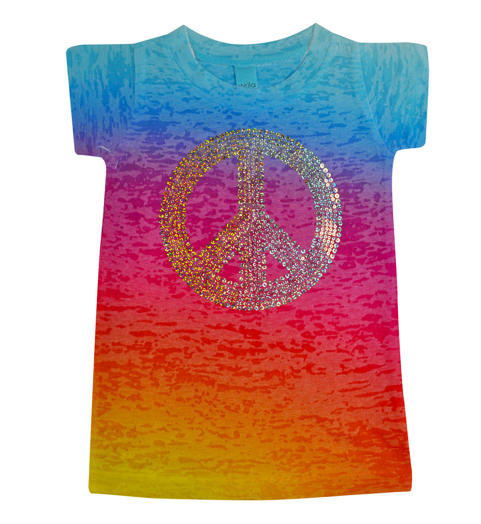 Girls Peace Sign Sparkle Tee - Stella Blu Clothing