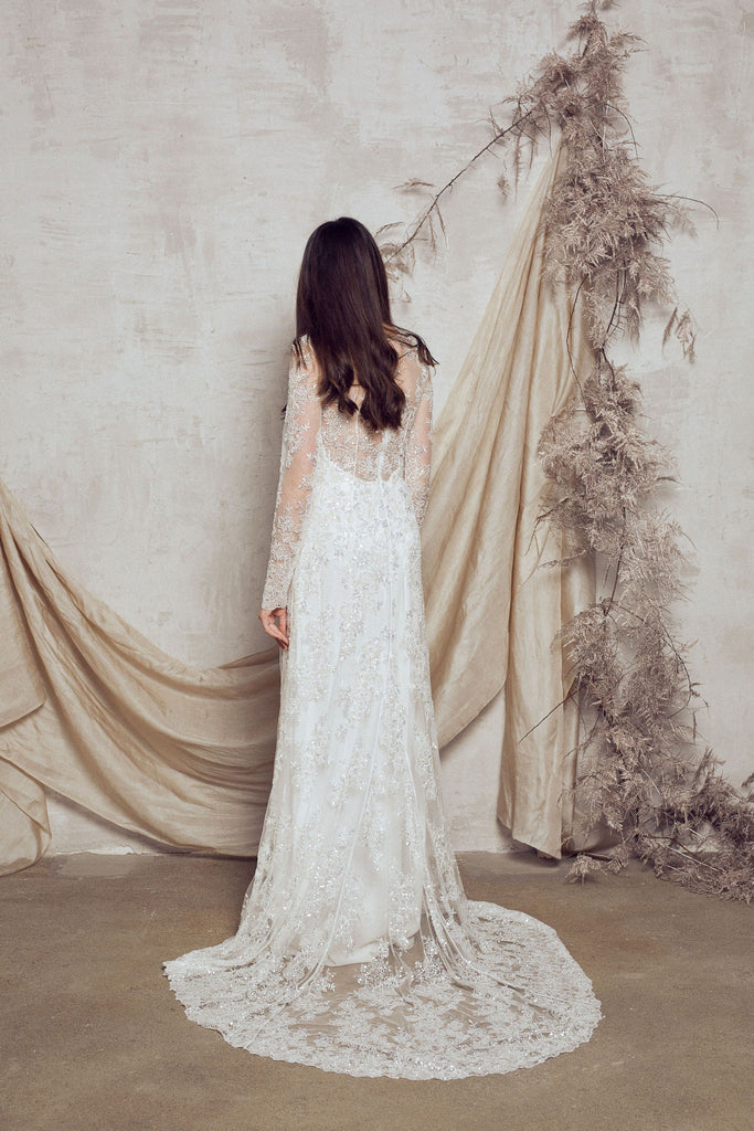 beaded lace wedding dress
