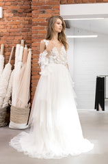 wedding dress with 3d decor