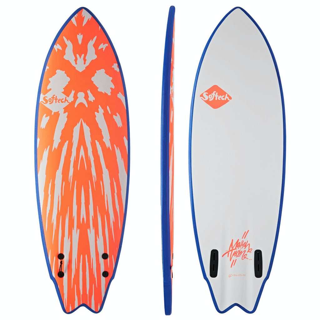 Mason Twin Size 5'6 Neon Red/White Softboard