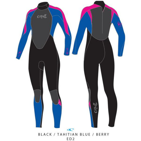 O'Neill Girls Epic 5/4mm BZ  BLK/TAHITNBLU/BERRY,