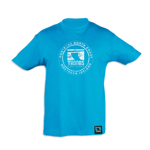 Troggs KIDS DISTRESSED STICKER Tee Atoll Blue
