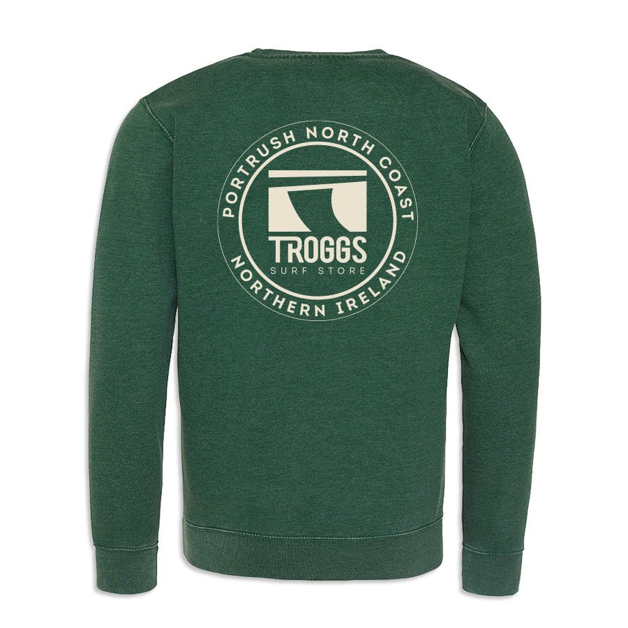 Troggs Patch Washed Sweatshirt Bottle Green