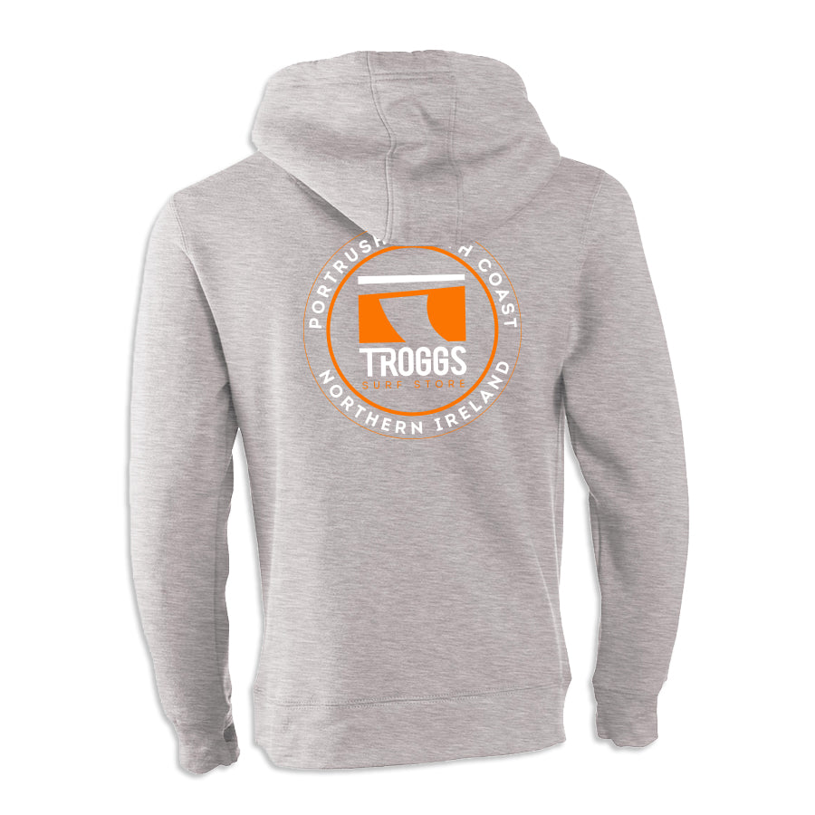 Troggs Sticker Zipped Hoodie Dusty Grey