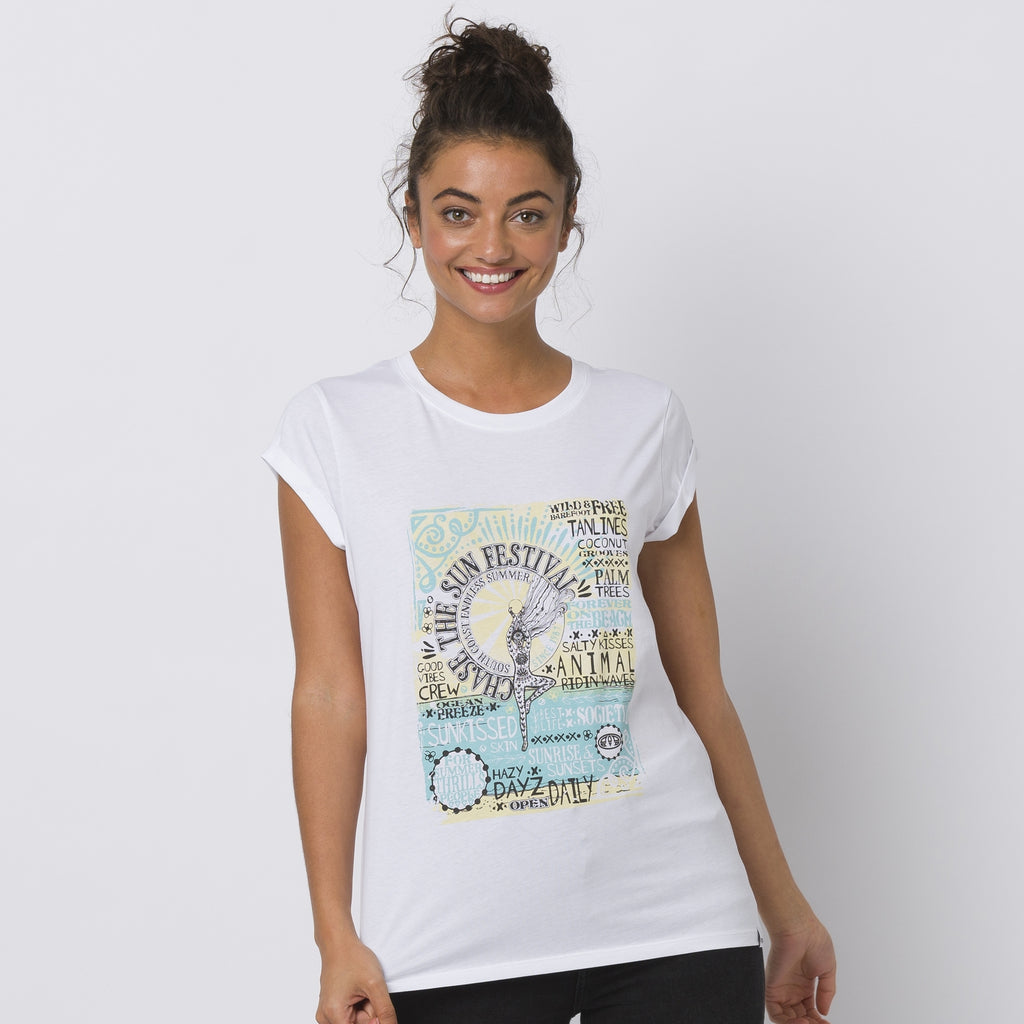 Animal Moon Flower Tee White