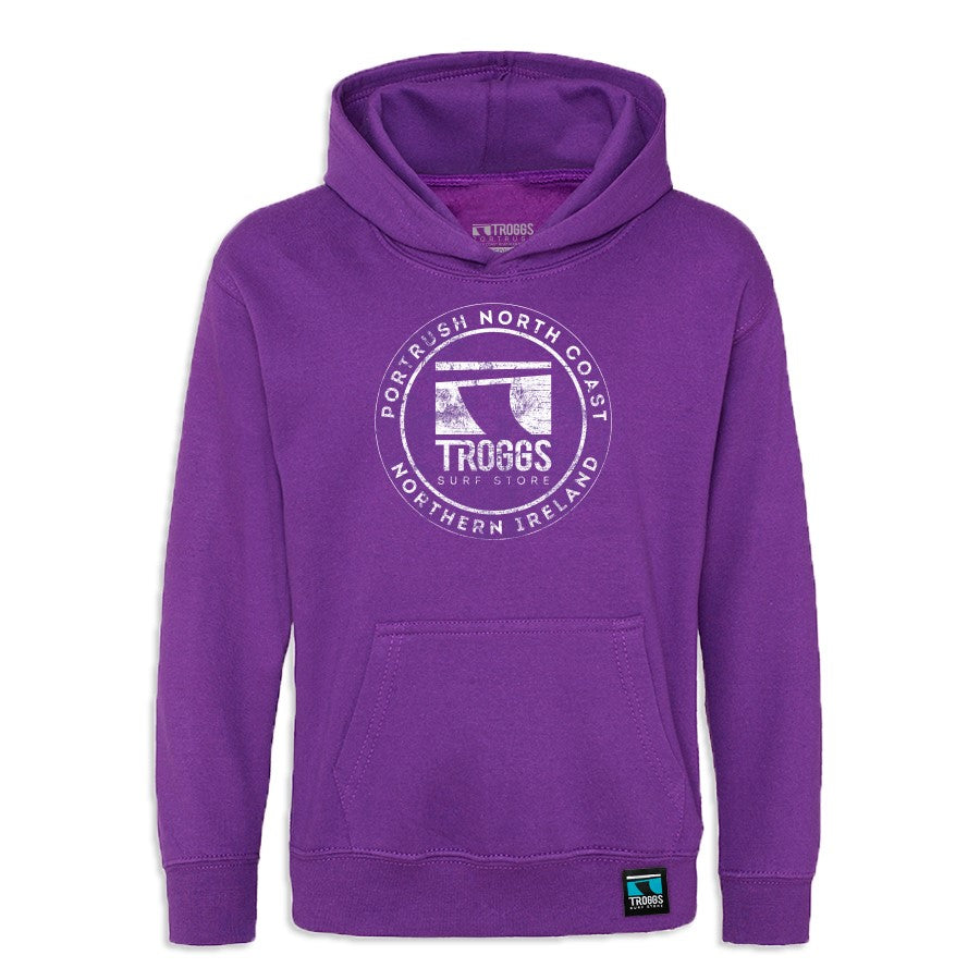 Troggs Kids Sticker Hoodie Royal Purple