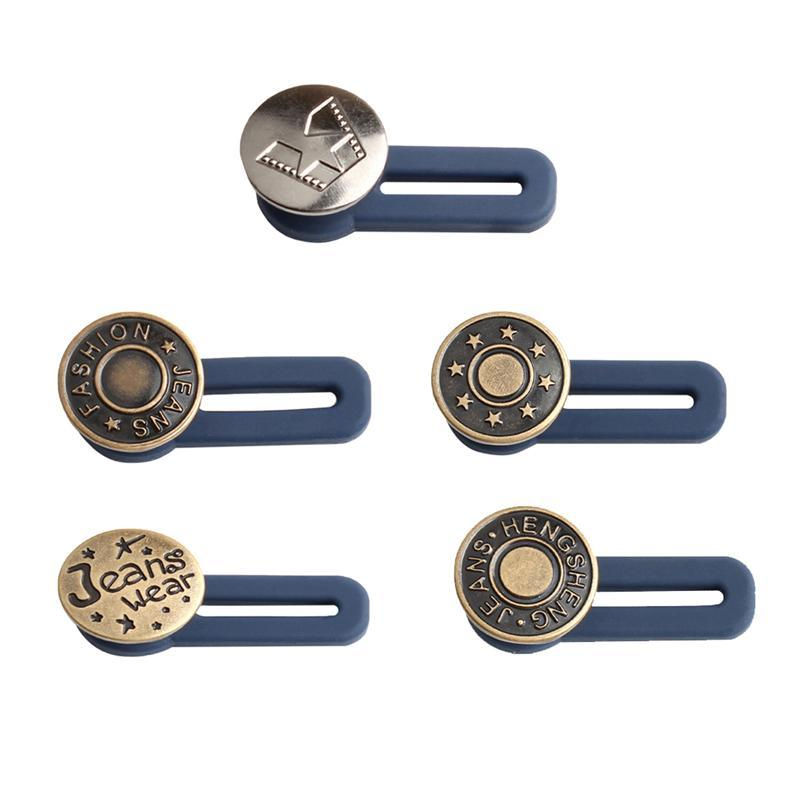 5pcs Free Adjustable Buttons Sewing Removable Removable Waist Jeans Metal Button Extended Pant Buckles Belt Expander כפתורים DIY House Decoration Store 5pcs Random Color