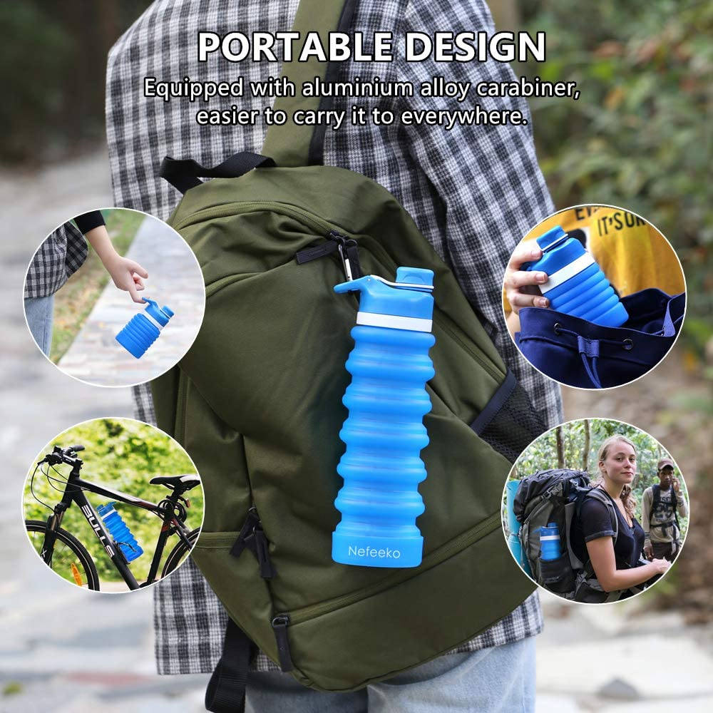 Portable Collapsible Silicone Drinking Bottle Water Bottles My Exquisite Life Store