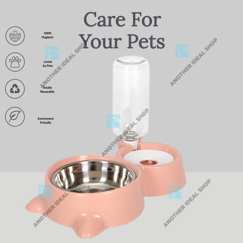 2-in-1 Automatic Water Dispenser Feeder Cat Feeding & Watering Supplies Surprising World Store Pink