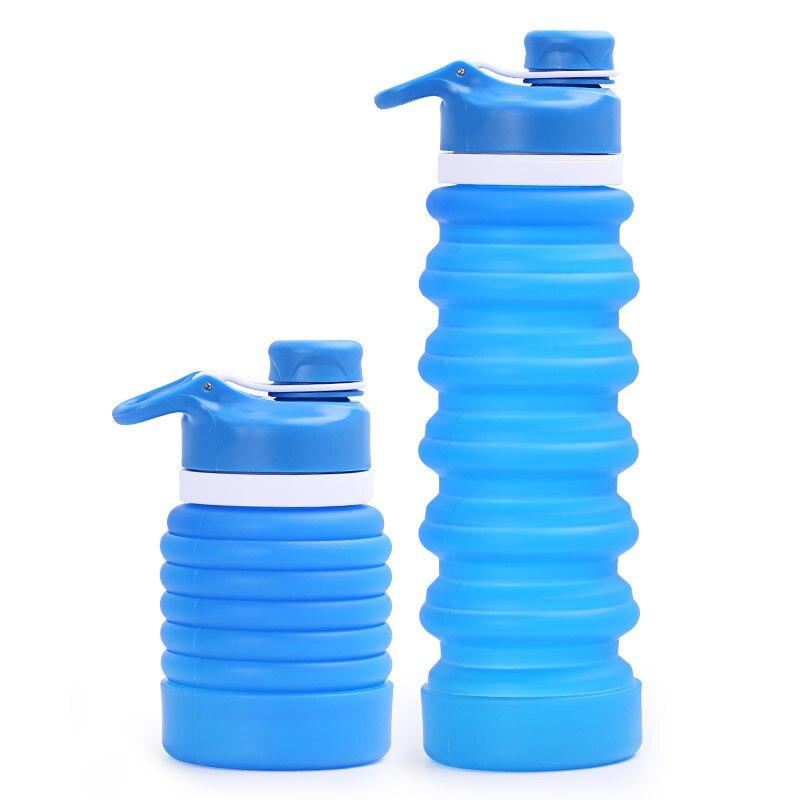 Portable Collapsible Silicone Drinking Bottle Water Bottles My Exquisite Life Store Light Blue