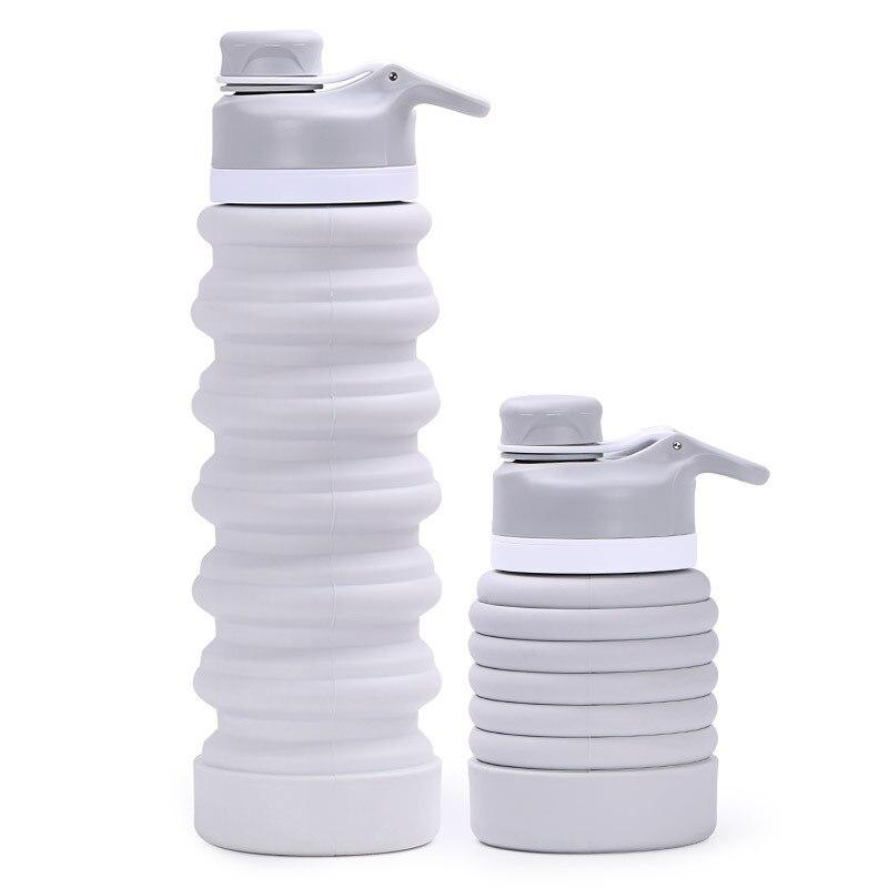 Portable Collapsible Silicone Drinking Bottle Water Bottles My Exquisite Life Store Grey
