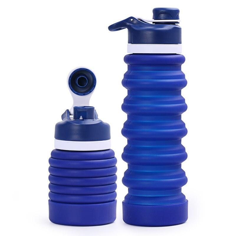 Portable Collapsible Silicone Drinking Bottle Water Bottles My Exquisite Life Store Dark Blue