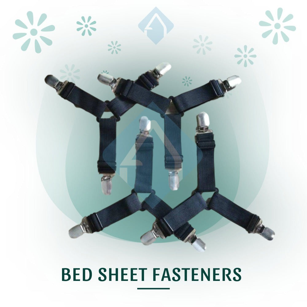 4 Black Bed Sheet Fasteners | Another Ideal Shop
