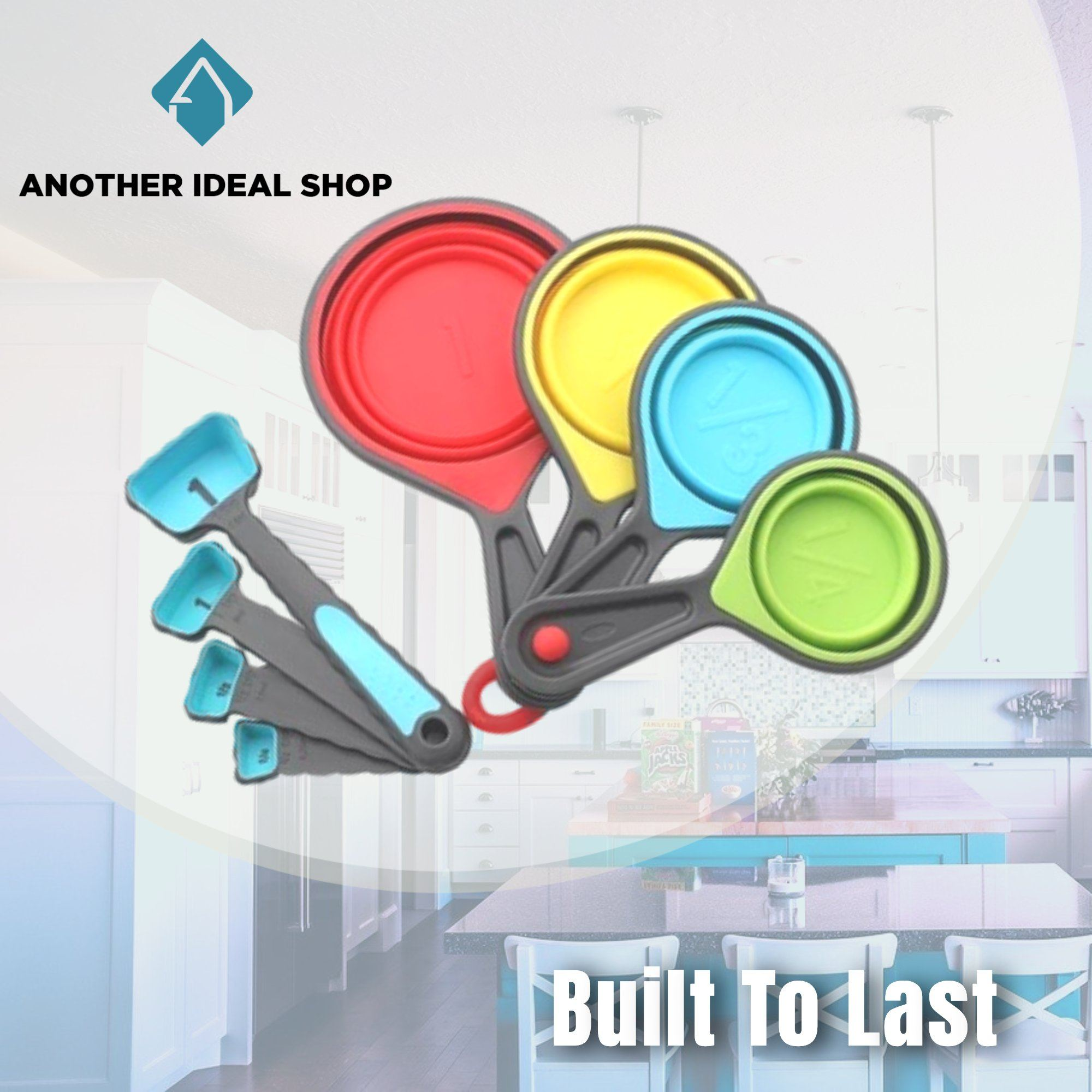 Collapsible Silicone Measuring Cup Another Ideal Shop Blue (8pcs/set)