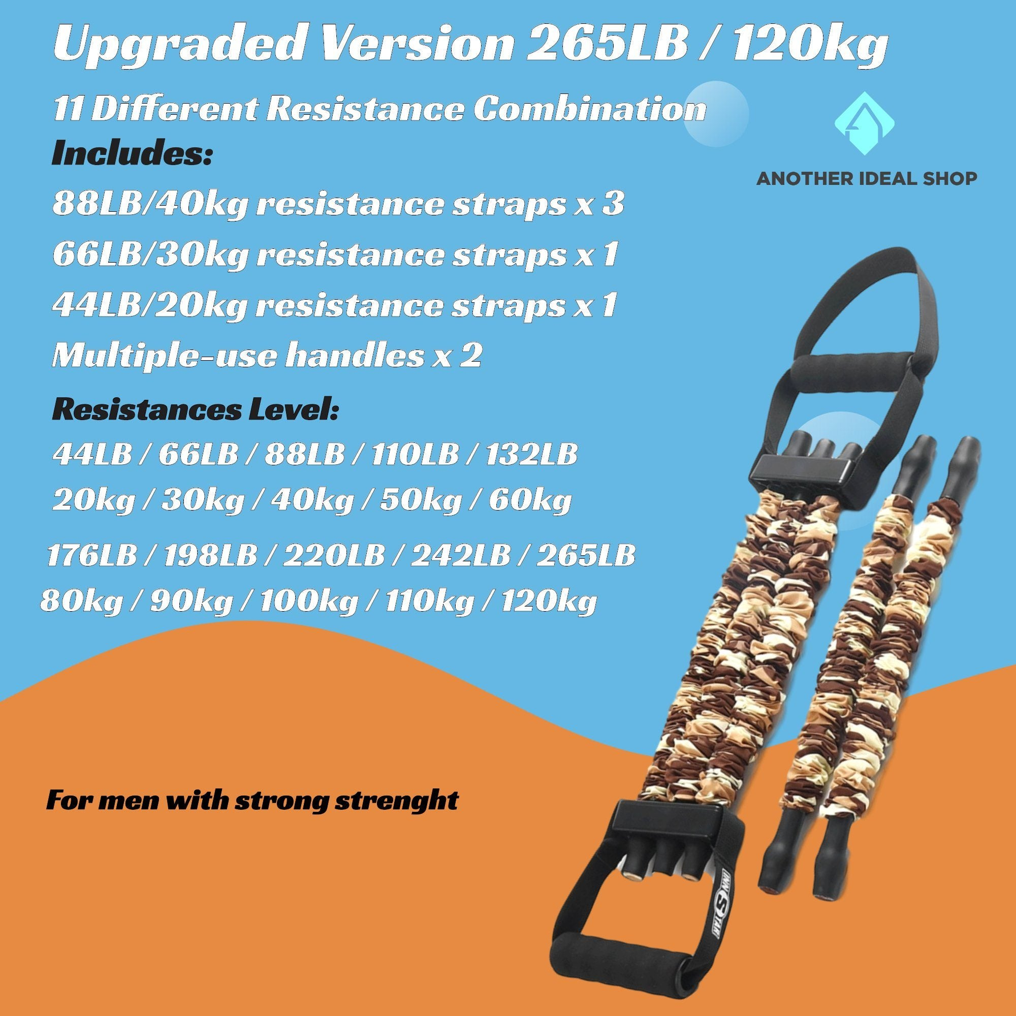 Adjustable Chest Training Expander Resistance Bands INNSTAR Official Store 120Kg / 265LB Upgraded