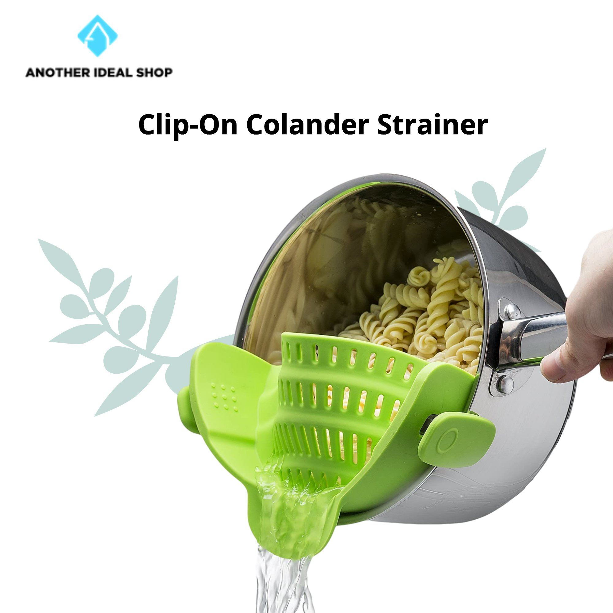 Clip-On Colander Strainer Brand: Kitchen Gizmo Green