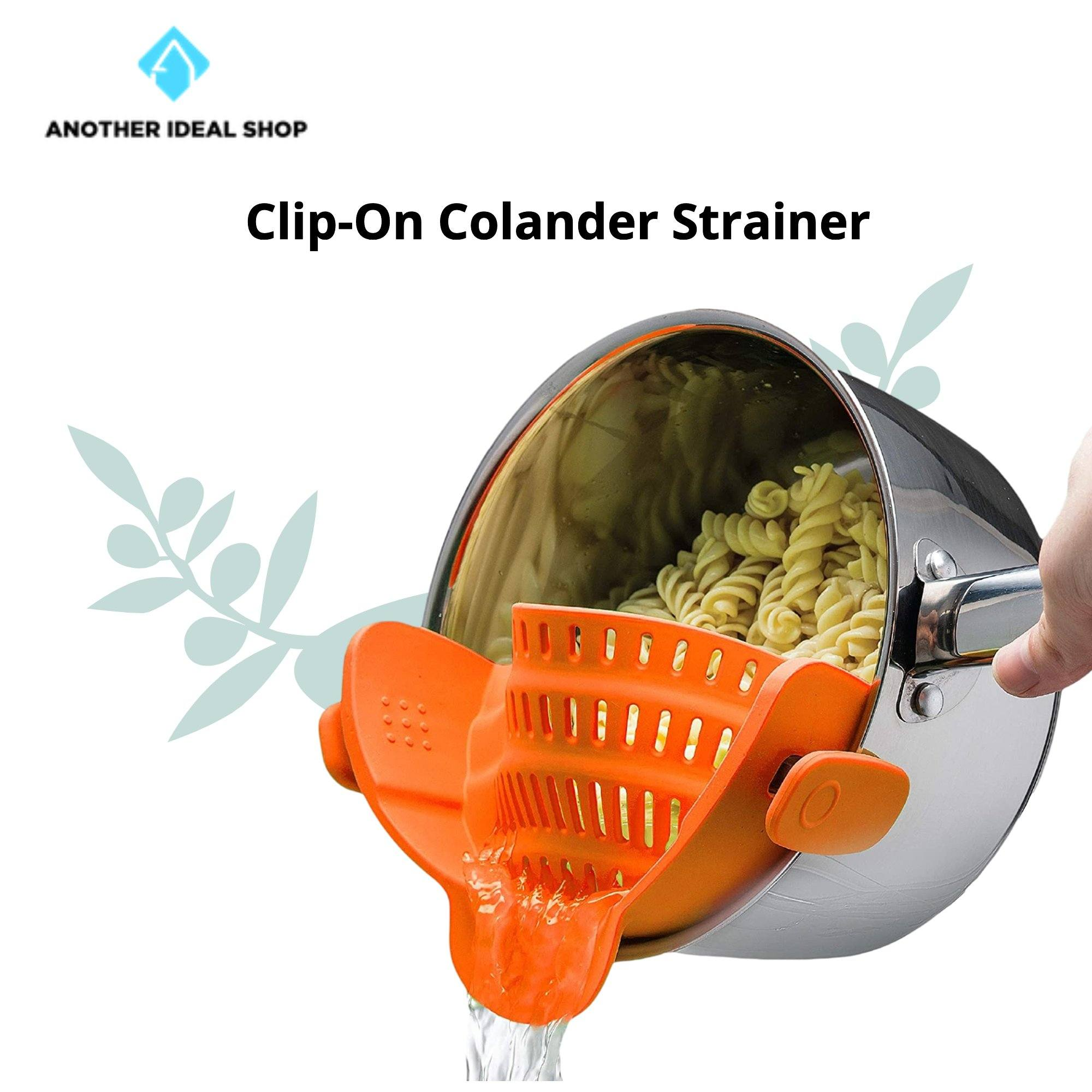 Clip-On Colander Strainer Brand: Kitchen Gizmo Orange