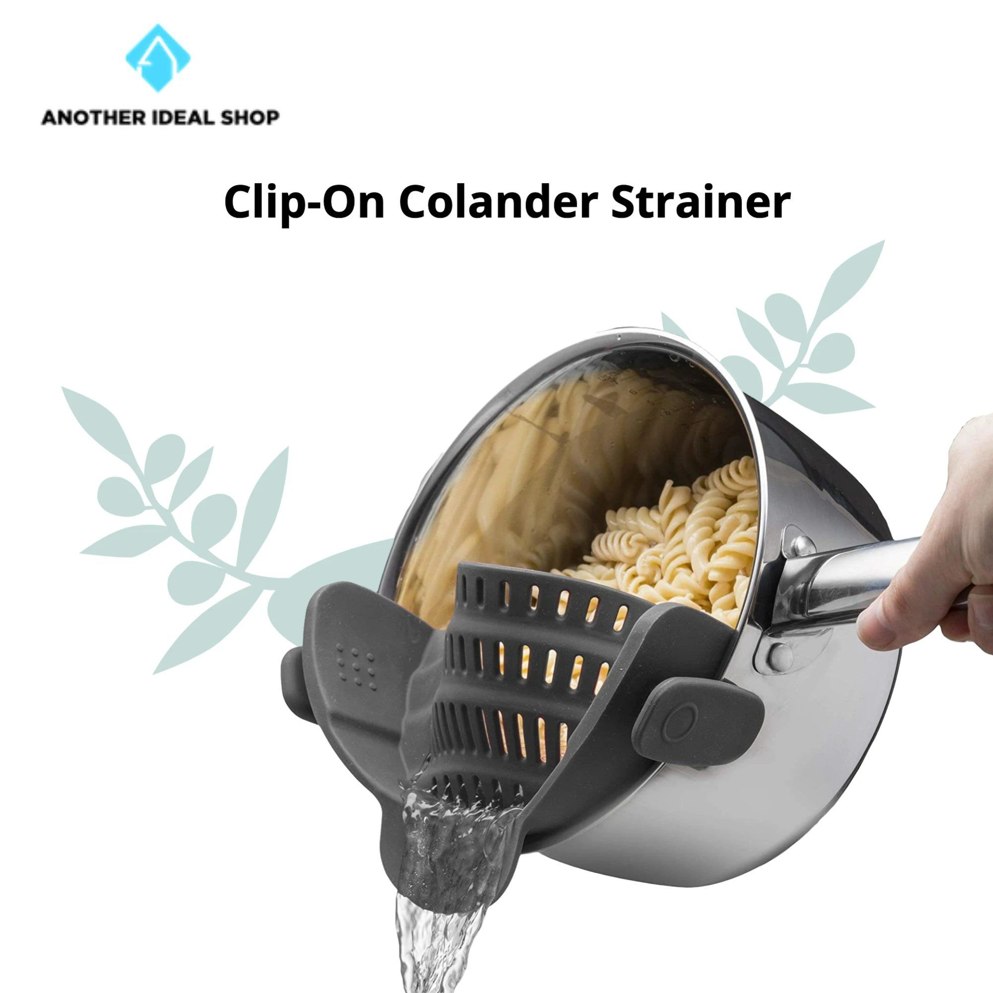 Clip-On Colander Strainer Brand: Kitchen Gizmo Grey