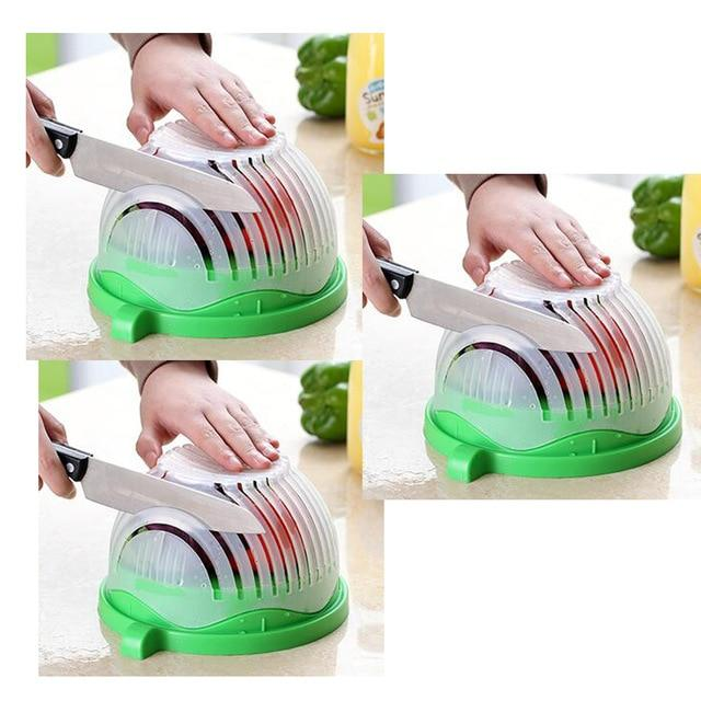 Salad Cutting Colander Another Ideal Shop 3 pcs green