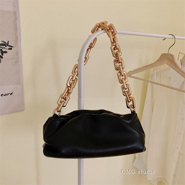 Chain Handle Hobo Bag Another Ideal Shop M Black